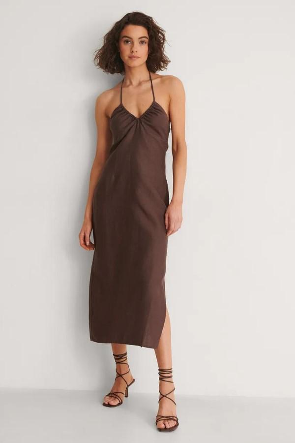 NA-KD Haterneck Midi Dress in Brown