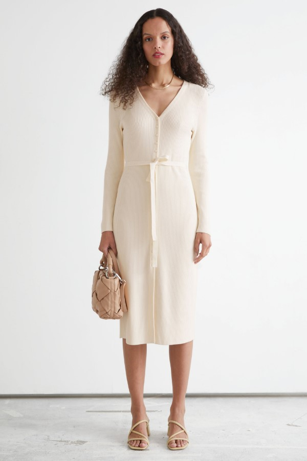 & Other Stories Belted Cardigan Midi Dress