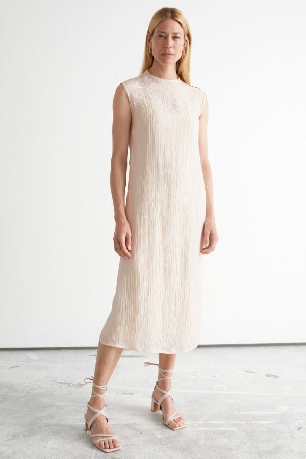 & Other Stories Crinkled Mock Neck Midi Dress