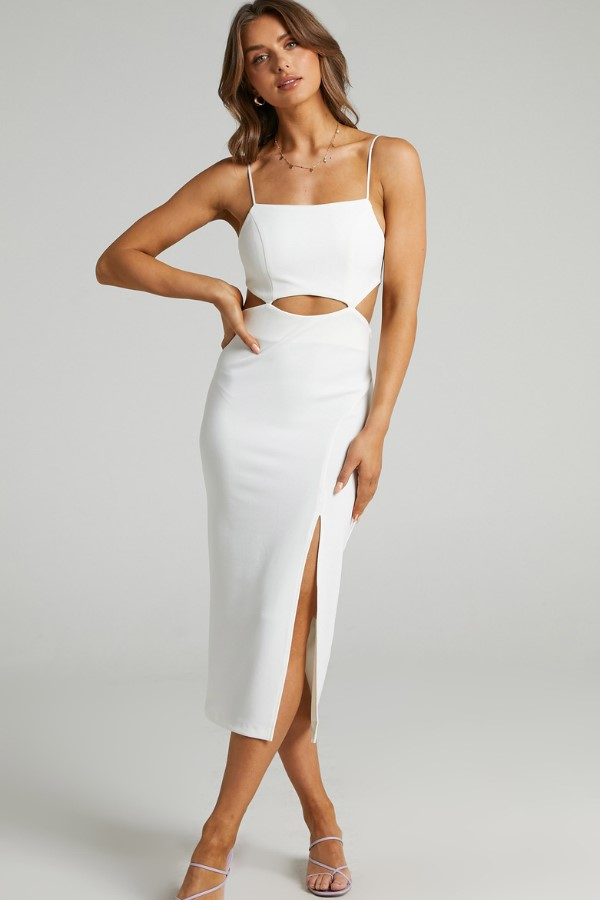 Showpo Harper Cut Out Underbust Dress in White
