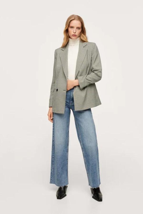 shop the MANGO Check Suit Blazer