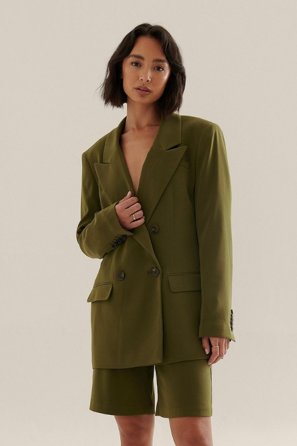NA-KD Classic Double Breasted Oversized Blazer - Green