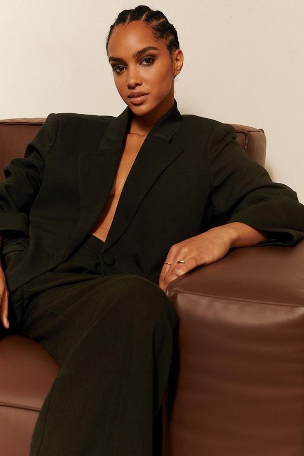 Oumayma x NA-KD Single Button Oversized Blazer - Black