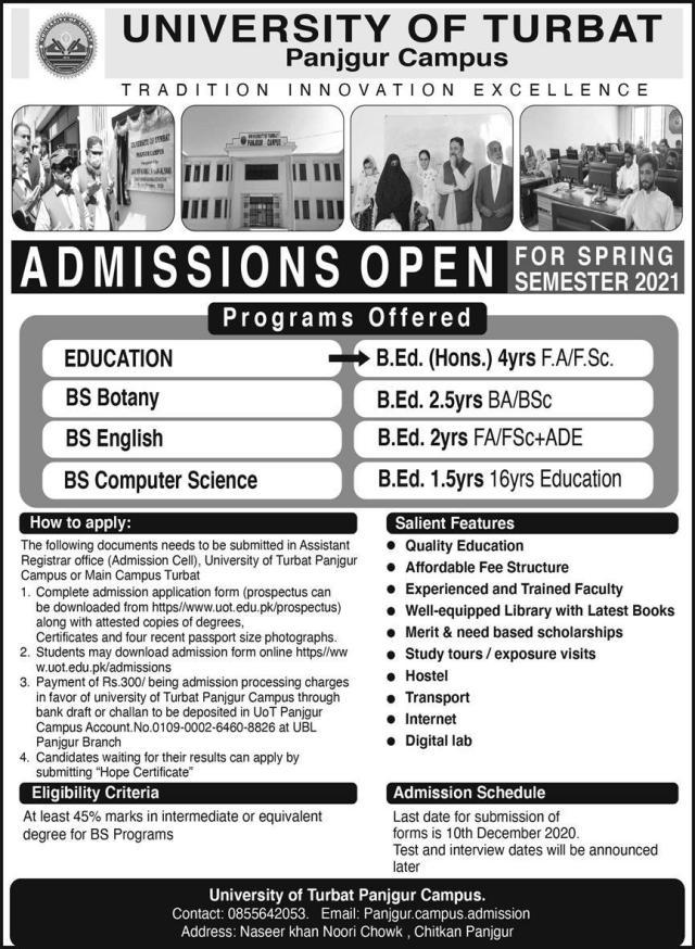 University of Turbat UOT Panjgur campus admission 2020