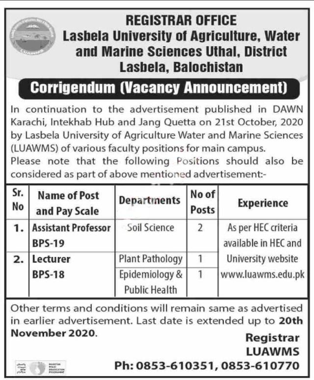 Lasbela University of Agriculture Water and Marine Sciences Teaching Posts Lasbela 2020