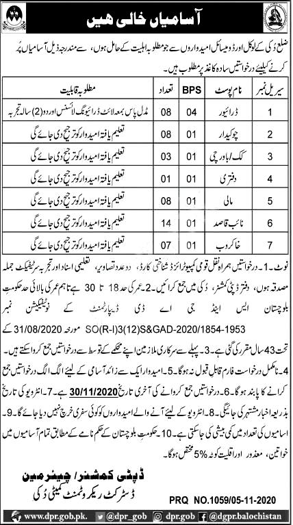 Latest Deputy Commissioner District Office Labor Posts Ziarat 2020