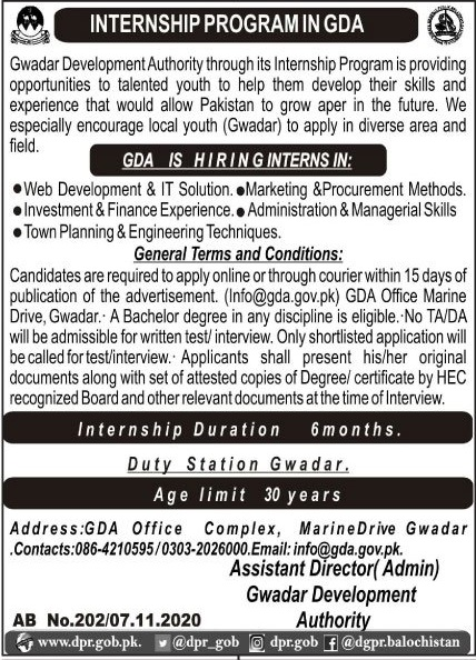 Gwadar Development Authority GDA Internship 2020