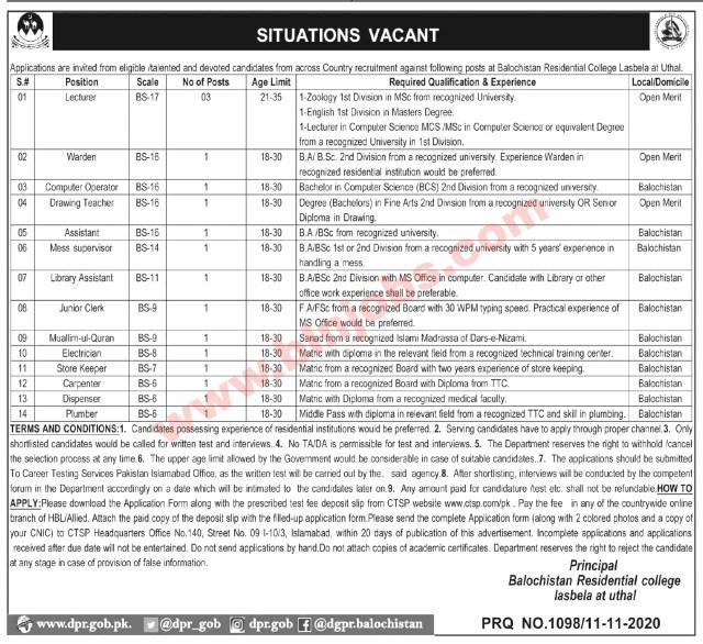 Balochistan Residential College Uthal Jobs 2020