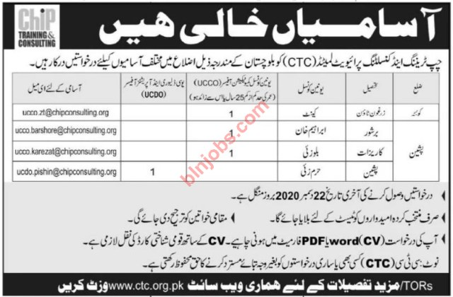 Chip Training & Consulting CTC Jobs in Balochistan