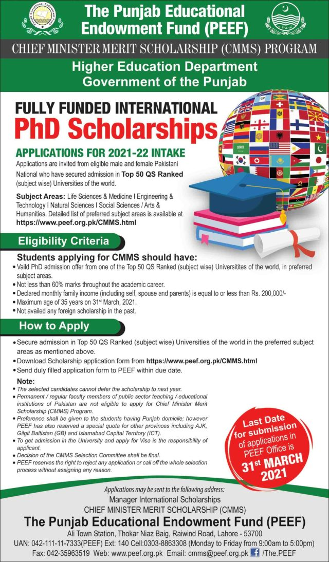 PEEF PhD Scholarships 2021