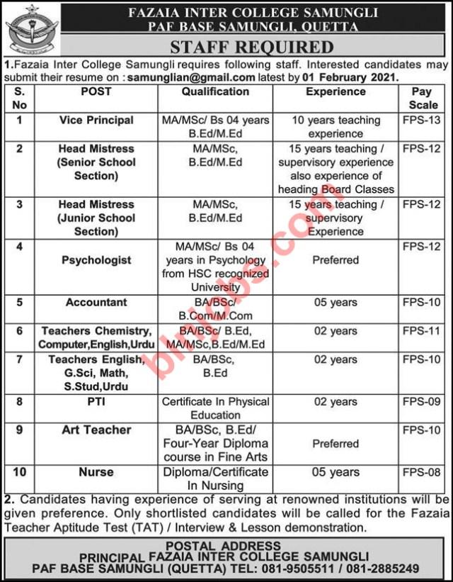 Fazaia Inter College Samungli Quetta Jobs