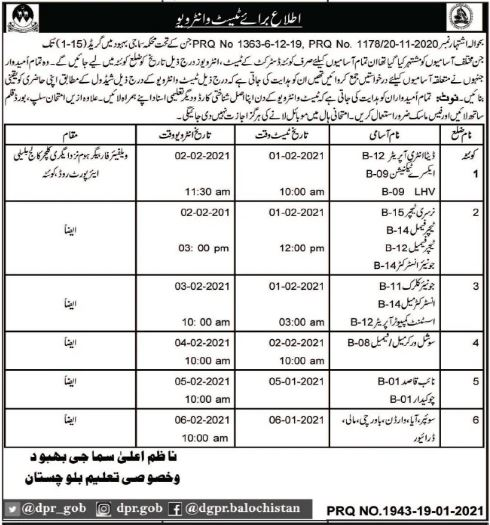 Balochistan Social Welfare and Special Education Jobs Interview Schedule