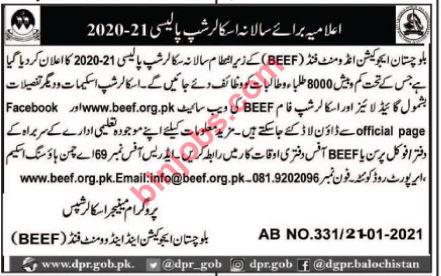 BEEF Scholarships Balochistan 2020-21