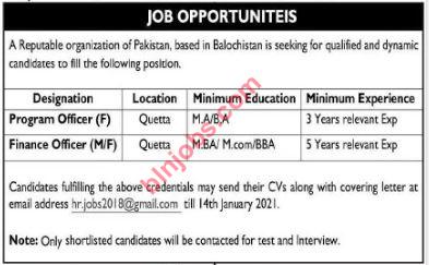 Private Organization Jobs in Quetta 2021