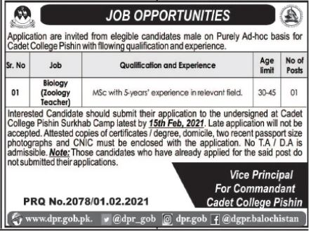 Cadet College Pishin Jobs 2021