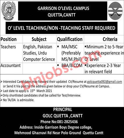 Garrison O Level Campus Quetta Cantt Jobs 2021