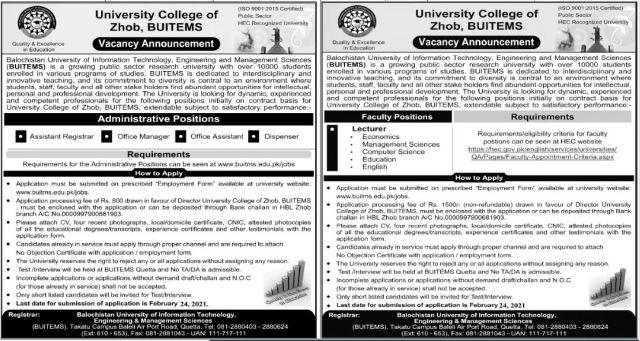 University College of Zhob BUITEMS Jobs 2021