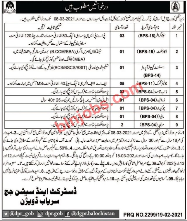 District and Session Court Sariab Jobs 2021