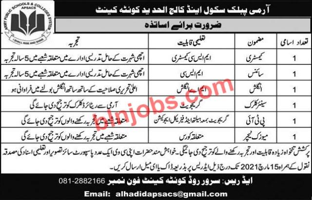 Army Public School and College Al Hadeed Quetta Cantt Jobs 2021