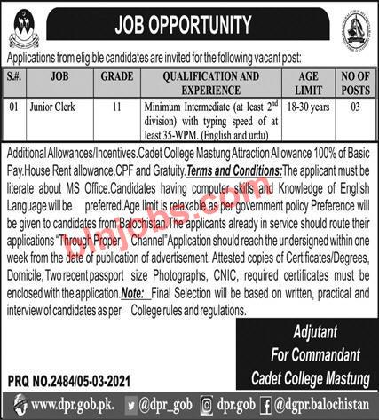 Cadet College Mastung Jobs 2021