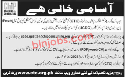 Chip Training and Consulting CTC Quetta Jobs 2021
