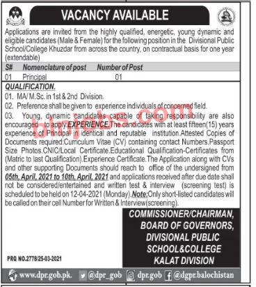 Divisional Public School/College Khuzdar Jobs 2021