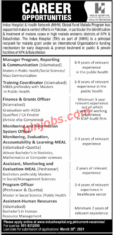 Indus Hospital and Health Network IHHN Jobs 2021