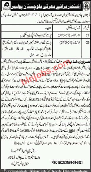 Balochistan Police Latest Jobs 2021