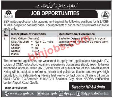 Balochistan Education Foundation BEF Jobs 2021