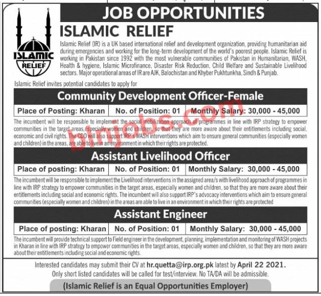 Islamic Relief Jobs in Kharan Balochistan 2021Islamic Relief Jobs in Kharan Balochistan 2021