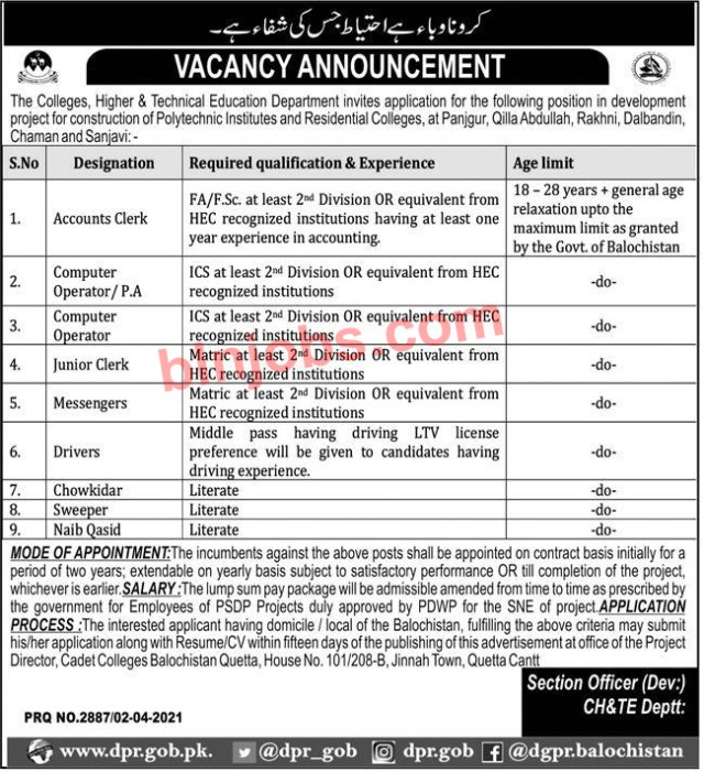 The Colleges Higher and Technical Education Department Jobs 2021
