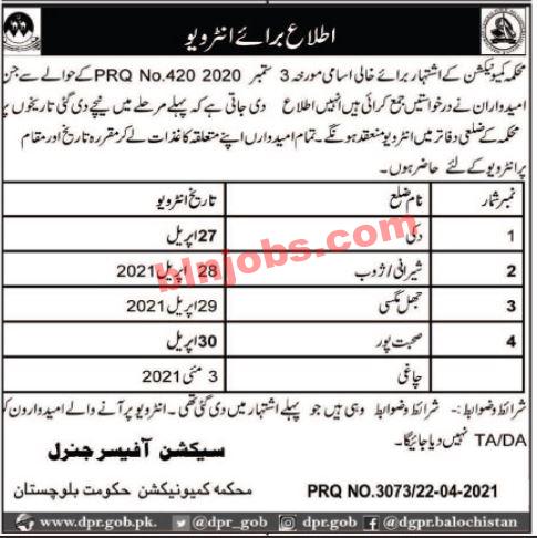 Communication Department Balochistan Jobs Interview Schedule
