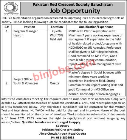 Pakistan Red Crescent Society Balochistan Jobs 2021