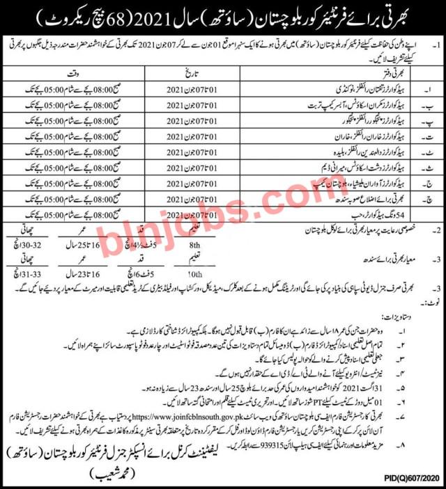 Jobs in Frontier Corps Balochistan South 2021 - FC Jobs in Balochistan 2021