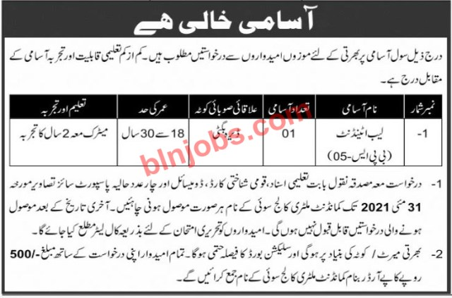Lab Attendant Jobs in Military College Sui