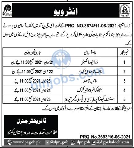 Department of Public Relations Balochistan Interview Schedule