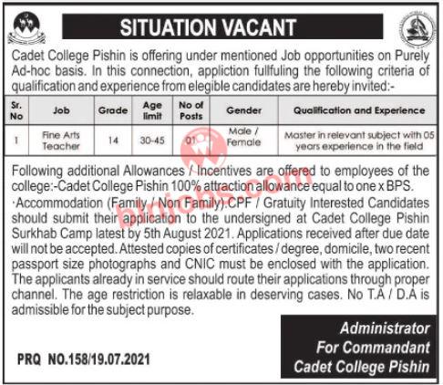 Cadet College Pishin Jobs 2021 - Jobs in Pishin Cadet College