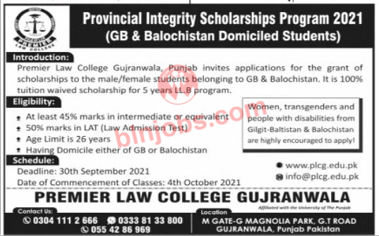 Provincial Integrity Scholarship Program 2021