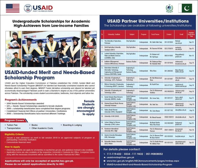 HEC USAID funded Merit and Need Based Scholarships 2021