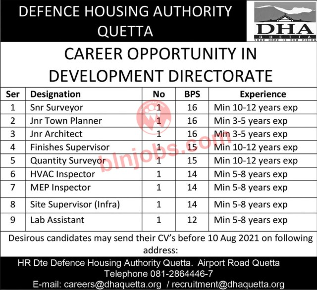 Defence Housing Authority Quetta Jobs 2021