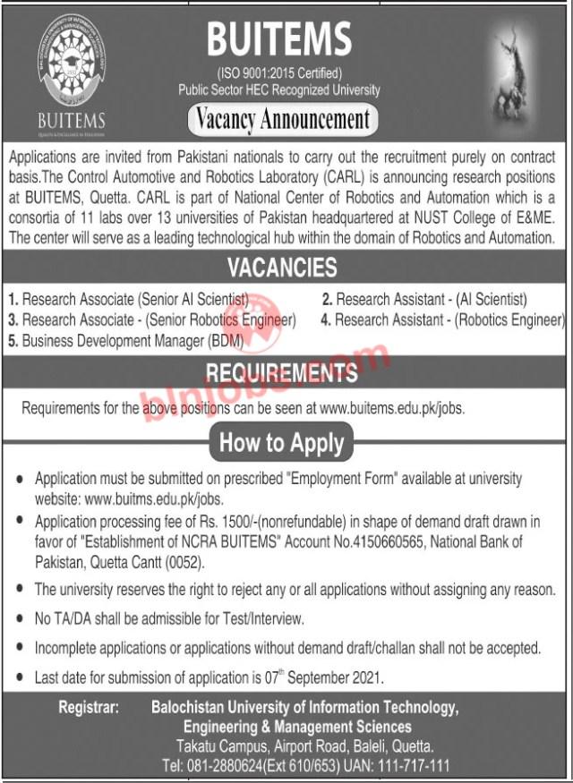 Latest BUITEMS Quetta Jobs 2021