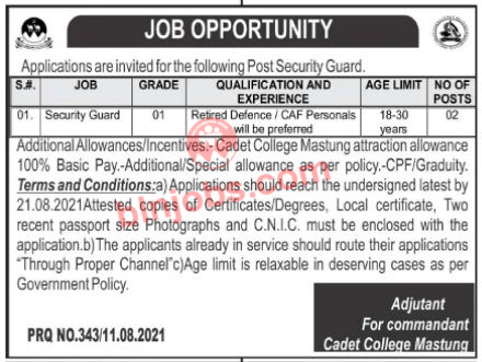 Security Guard Jobs in Cadet College Mastung 2021