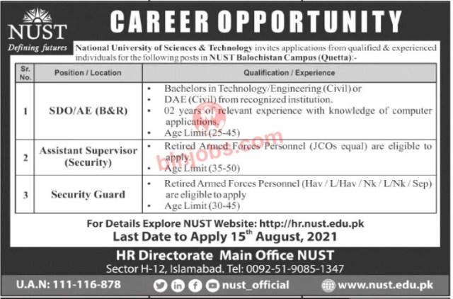 NUST Balochistan Quetta Campus Jobs 2021
