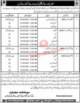 Provincial Transport Authority PTA Balochistan Jobs Interview Schedule