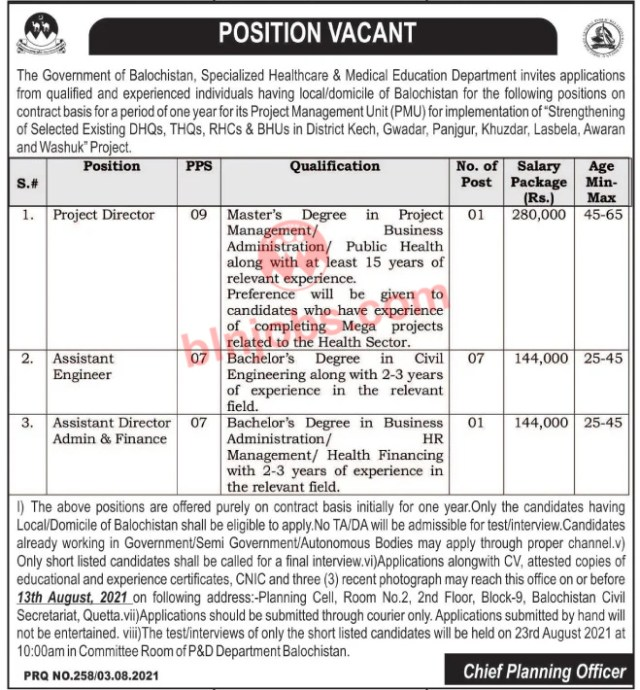 Specialized Healthcare and medical Education Department Balochistan Jobs 2021