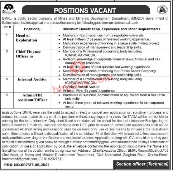 Balochistan Mines and Mineral Development Department Jobs 2021