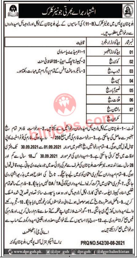 Junior Clerk Jobs in Balochistan Police 2021