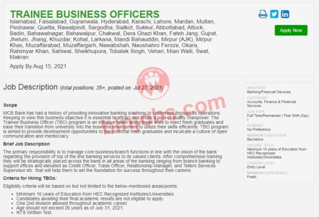 MCB Bank Jobs 2021 – Muslim Commercial Bank Jobs 2021