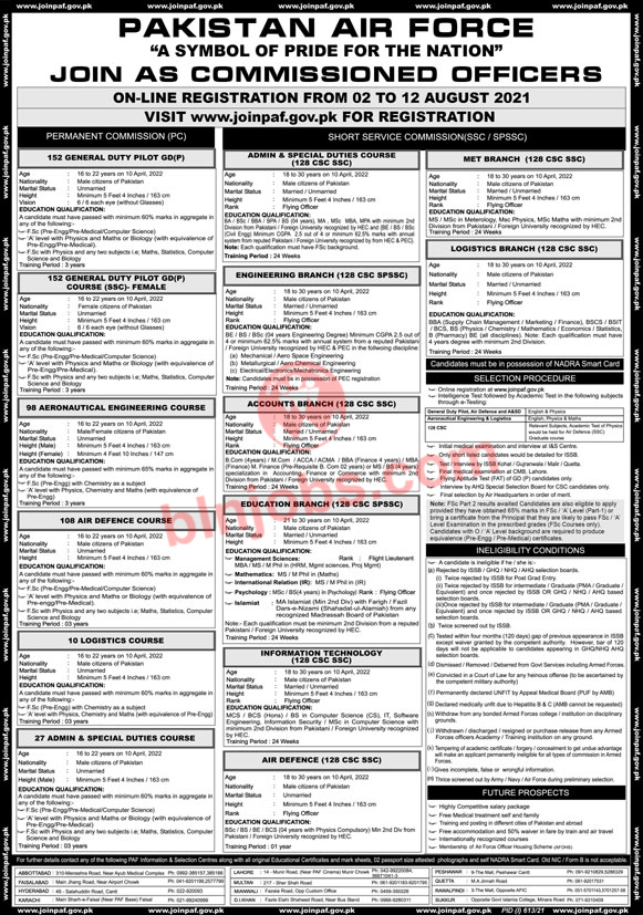 PAF Jobs 2021 - Join PAF as Commissioned Officer 2021