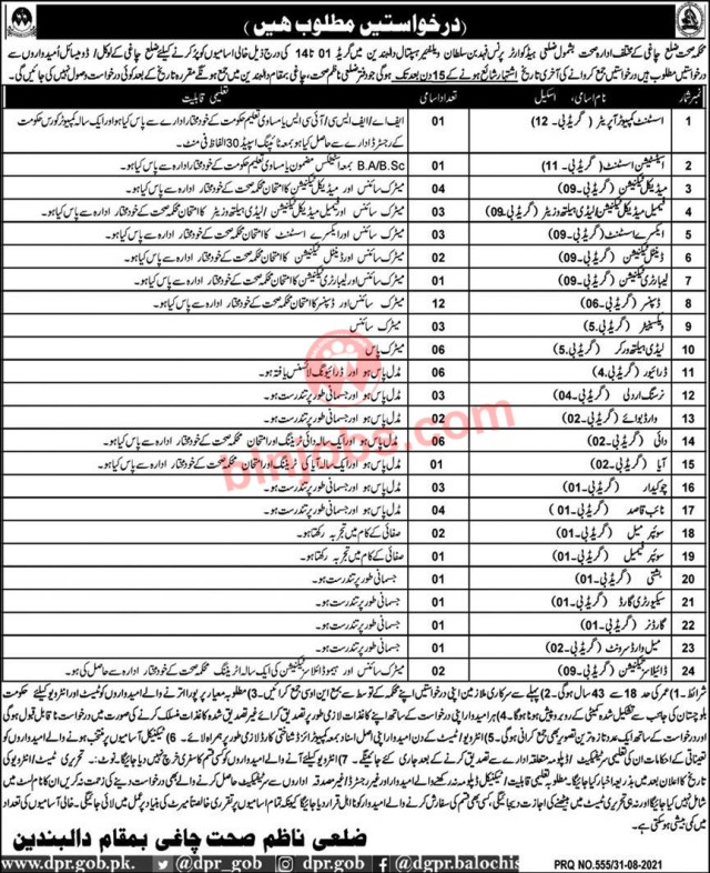 Health Department Chaghi Jobs 2021
